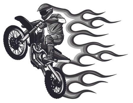 Motocross vector illustration on white background
