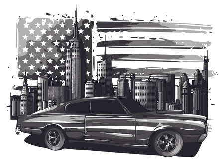 picture of car on the road with forest and big city silhouette on background