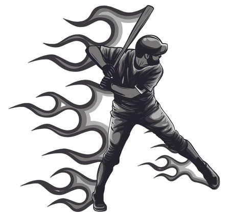 Powerful Baseball Hitter Right handed Stock Illustratie