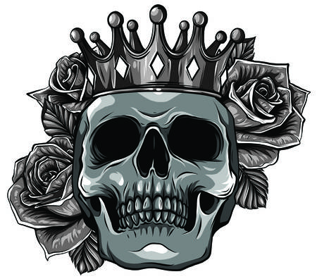 Vector illustration human death skull in crown with roses Stock Illustratie