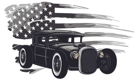 vector graphic design illustration of an American muscle car Stock Illustratie