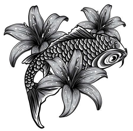 illustration of koi fish. drawing vector. vector illustration Japanese motif.