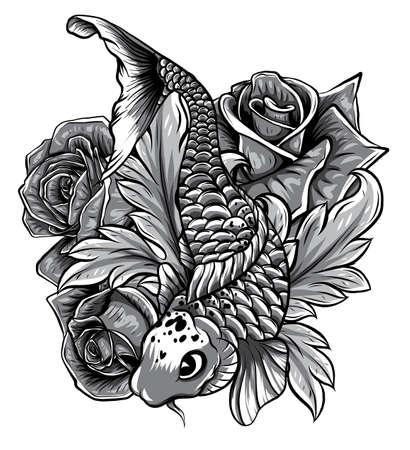 Hand drawn outline Koi fish and water splash Japanese
