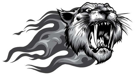 Head of roaring tiger in tongues of flame. Angry wild big cat.