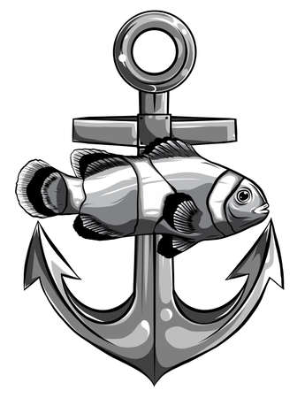 fish twisted to an anchor of a boat vector