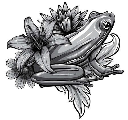Cute frog cartoon. Cartoon frog sitting with flower, Vector Stock Illustratie