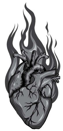 Vector illustration with flaming heart at fire Stock Illustratie