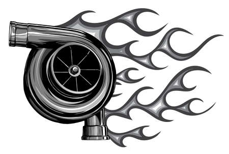 Vector illustration turbo charger with flames design