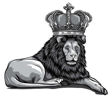 monochromatic vector Illustration of angry leaping lion in white background Stock Illustratie