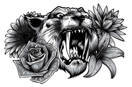 monochromatic tiger head face and composition flowers yellow sunflowers roses vector illustration