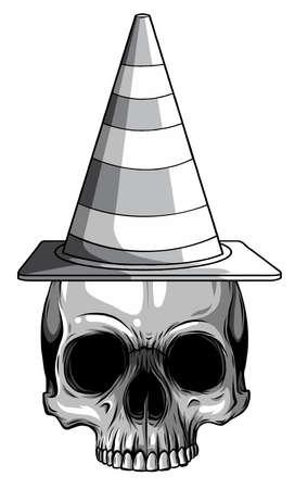 monochromatic Vector illustration paper sticker Halloween icon witch hat with skull Stock Illustratie