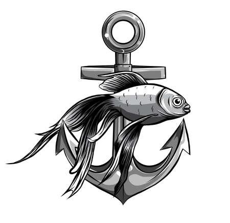 monochromatic Vector - Gold Fish, anchor Aquarium Fish Stock Illustratie