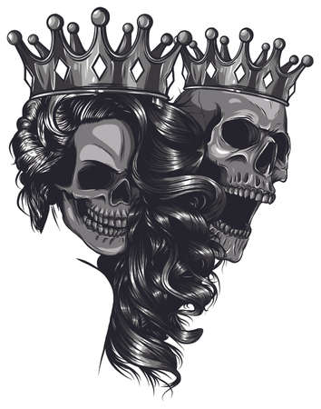 Skull King and Queen vector. Love skull couple.