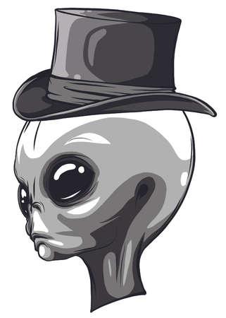 Alien head monochrome isolated on white background Stock Illustratie