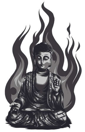 Buddha vintage vector illustration from Meyers Konversations Stock Illustratie
