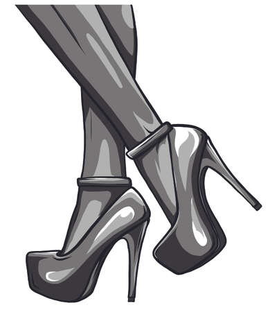 sexy woman legs with black shoes vector