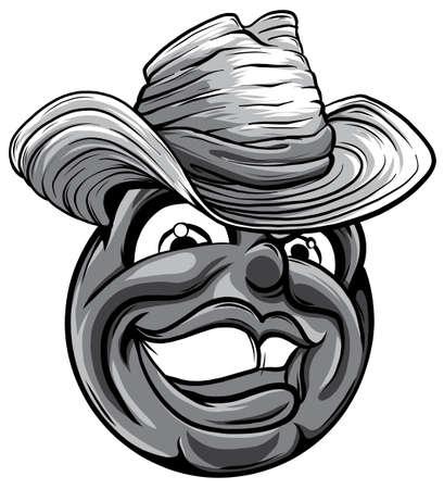 Cute monochromatic smiling emoticon wearing cowboy hat, emoji, smiley