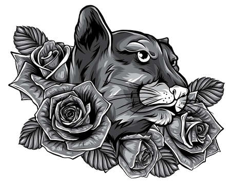 Panther monochromatic roses tattoo graphic vector illustration 版權商用圖片 - 143660802