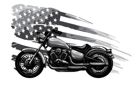 monochromatic vintage American chopper motorcycle with american flag