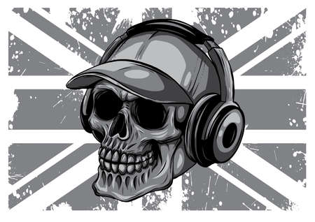 monochromatic Skull and Flag Great Britain. vector illustration Stock Illustratie