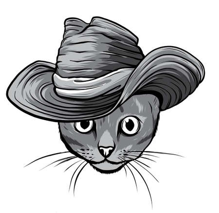 monochromatic Vector sketch of a stylized kitten s face Stock Illustratie