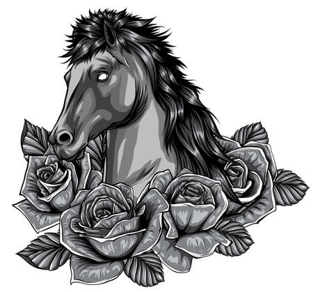 monochromatic vector illustration of Silhouette of the running horse in white background