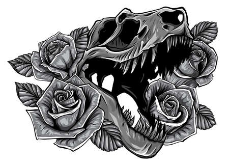 monochromatic Detailed sketch style drawing of the roaring tyrannosaurus rex and roses frame. Tattoo design. 版權商用圖片 - 143660812