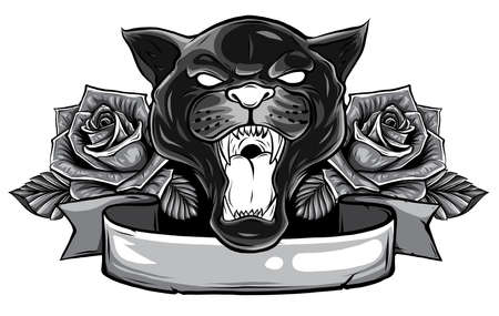 monochromatic Panther snake roses tattoo graphic vector illustration