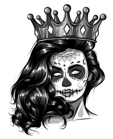 monochromatic Skull girl with a crown. Vector illustration design Stock Illustratie