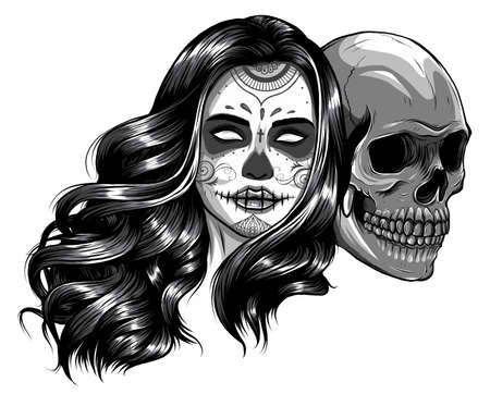 monochromatic Girl with skeleton make up hand drawn vector sketch.