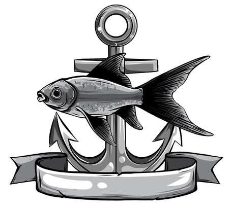 Vector - Gold Fish, Carassius Auratus, Fresh Water Aquarium Fish Stock Illustratie