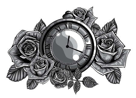 monochromatic Vintage pocket watch with a pattern in roses
