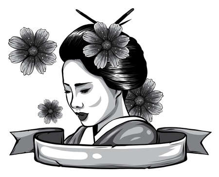 monochromatic face of a geisha drawn like a comic Stockfoto - 143660846