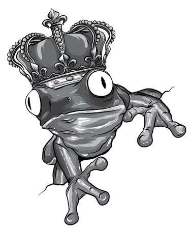 vector Illustration of green frog on white background Stock Illustratie