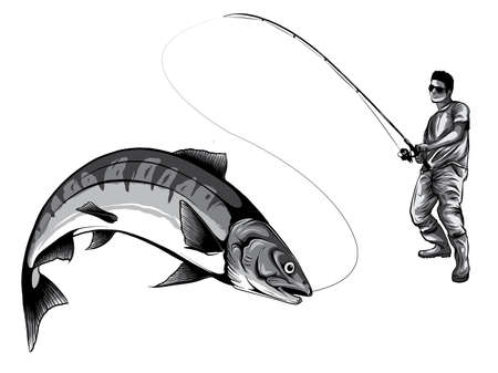 monochromatic Fishing design for vector. A fisherman catches a boat on a wave.