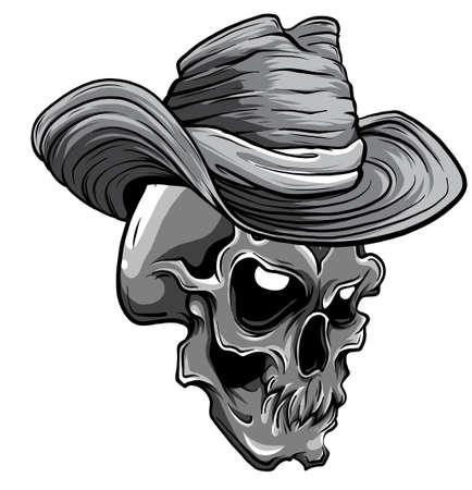 monochromatic vector illustration of cowboy skull cartoon style