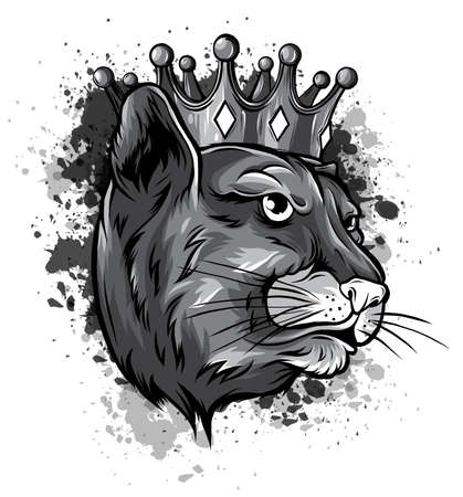 monochromatic portrait of a leopard in the crown. Can be used for printing on T-shirts, flyers and stuff.