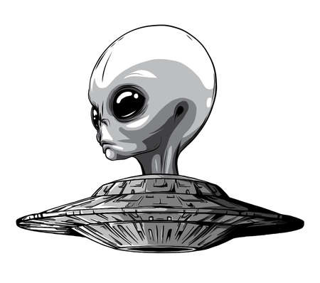 monochromatic Space Aliens. UFO icon. vector illustration art