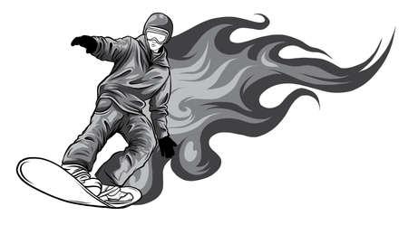 Snowboarder crow on fire vector illustration art Stock Illustratie