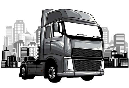 monochromatic Cartoon Garbage Truck isolated on white background. vector 版權商用圖片 - 143660858