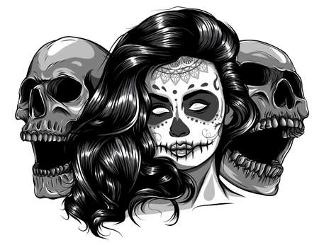 monochromatic Sugar skull girl face with make up for Day of the Dead Dia de los Muertos . vector