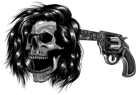 monochromatic vector suicide skull with gun and blood