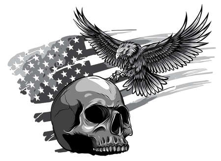 monochromatic Eagle and Skull vector illustration design art Stock Illustratie