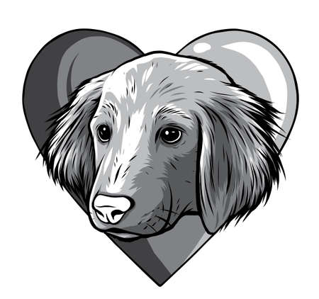 monochromatic I love dogs vector icon illustration design