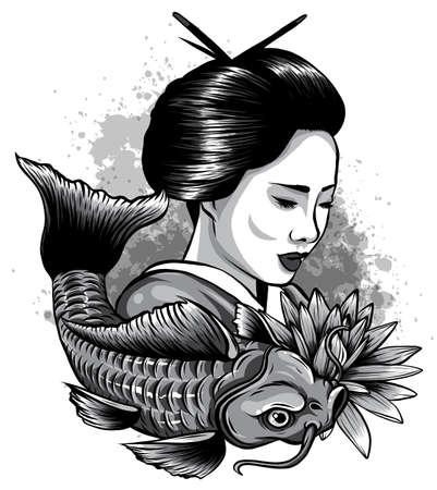 monochromatic Vector illustration of Japanese geisha feeding sacred Koi carps at autumn time.