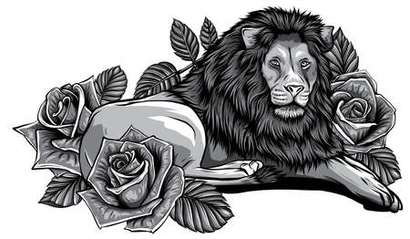 monochromatic The head of a lion in a flower ornament vector