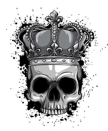 monochromatic Illustration of black and white skull in crown with beard isolated on white background