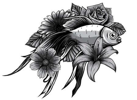monochromatic Koi fish tattoo vector illustration. design art