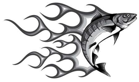 monochromatic Abstract Burning fish, Illustration vector design art