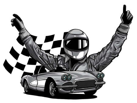 monochromatic vector illustration of a race car driver in front of his car 版權商用圖片 - 143660939